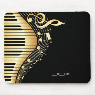 Monogram Elegant Black And Gold Music Notes Design Mouse Pad