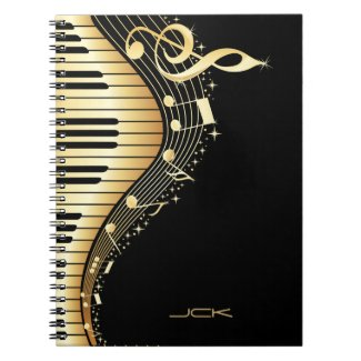 Monogram Elegant Black And Gold Music Notes Design
