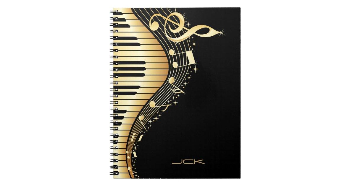 Monogram Elegant Black And Gold Music Notes Design
