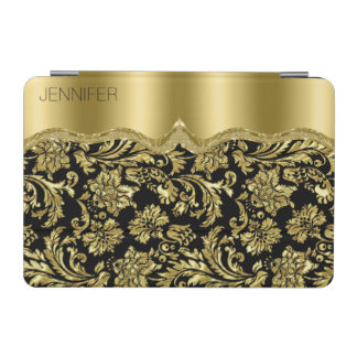Monogram Elegant Black And Gold Vintage Damasks iPad Mini Cover