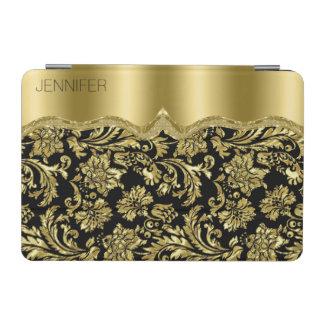 Monogram Elegant Black And Gold Vintage Damasks iPad Mini Cover
