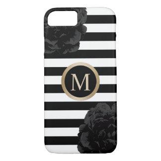 Monogram Elegant Black Floral Modern Stripes iPhone 8/7 Case