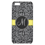 Monogram Elegant Black Silver Damask Yellow Ribbon Cover For iPhone 5C
