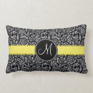 Monogram Elegant Black Silver Damask Yellow Ribbon Throw Pillow