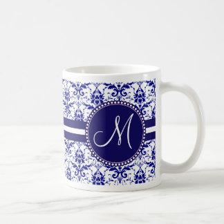 Monogram Elegant Blue and White Damask Pattern Coffee Mug