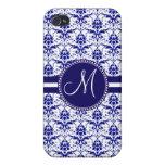 Monogram Elegant Blue and White Damask Pattern iPhone 4 Covers