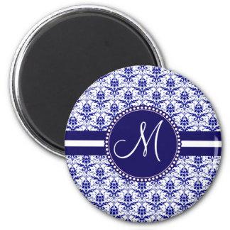 Monogram Elegant Blue and White Damask Pattern Magnet