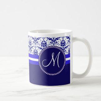 Monogram Elegant Blue and White Damask Pattern Classic White Coffee Mug