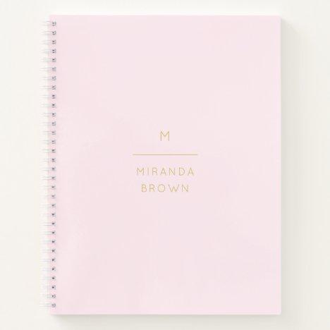 Monogram Elegant Blush Pink Gold Minimalist Classy Notebook