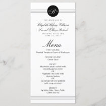 Monogram Elegant Chic Black Dot Clean Wedding Menu