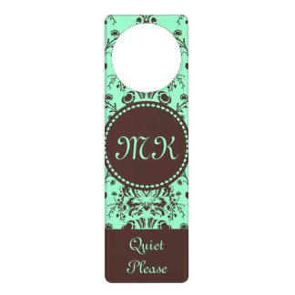 Monogram Elegant Chocolate Brown Damask Mint Green Door Hangers