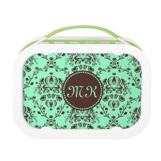Monogram Elegant Chocolate Brown Damask Mint Green Lunch Box