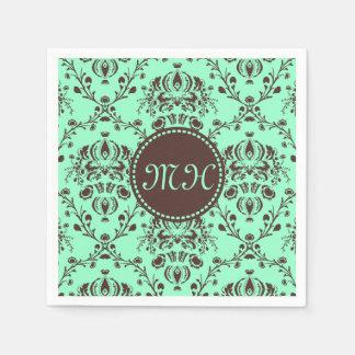 Monogram Elegant Chocolate Brown Damask Mint Green Paper Napkin