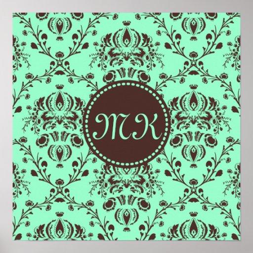 Monogram Elegant Chocolate Brown Damask Mint Green Poster