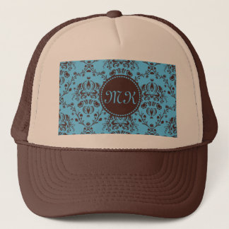 Monogram Elegant Chocolate Brown Damask Sky Blue Trucker Hat