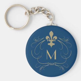Monogram Elegant Fleur de Lis Blue Gold Keychain