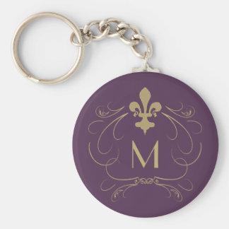Monogram Elegant Fleur de Lis Purple Gold Basic Round Button Keychain