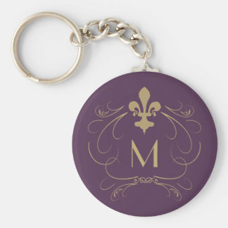 Monogram Elegant Fleur de Lis Purple Gold Keychain