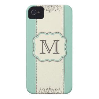 Monogram Elegant Floral Damask Art Deco Letter Case-Mate iPhone 4 Case