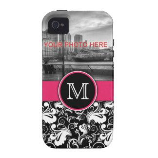 Monogram Elegant Floral Pattern Damask Letter Pink Case-Mate iPhone 4 Case
