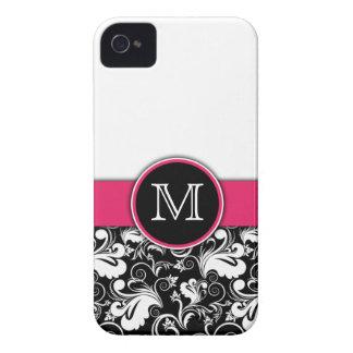 Monogram Elegant Floral Pattern Damask Letter Pink iPhone 4 Case