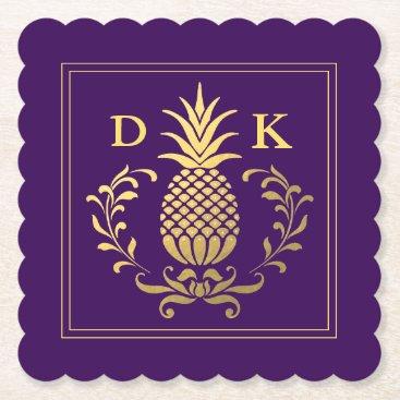 monogram_bouquet Monogram   Elegant Gold Pineapple Paper Coaster