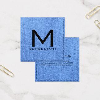 Monogram Elegant Modern Blue Jeans Canvas Square Business Card