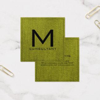 Monogram Elegant Modern Green Canvas Square Business Card