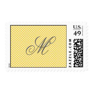 Monogram Elegant Polka Dots Yellow Postage