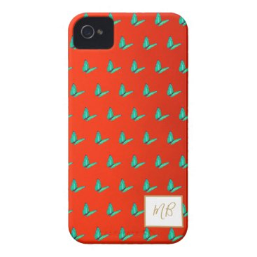 Monogram Elegant Red Blue Butterfly Case-Mate iPhone 4 Case