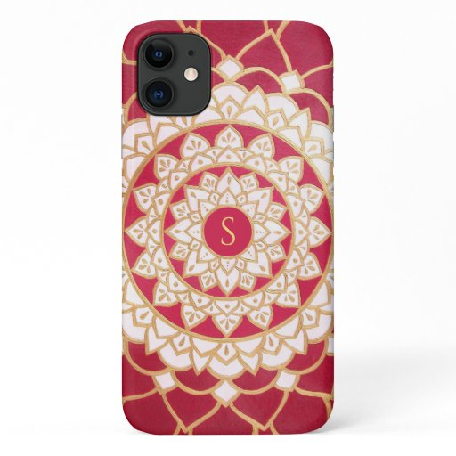 Monogram Elegant Red White Gold Mandala iPhone 11 Case
