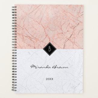 Monogram Elegant Rose Gold Gray Marble Planner