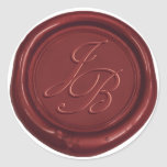 Monogram Elegant Script Red Wax Seal Wedding at Zazzle