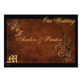 "Monogram Elegant Scroll Leaf Wedding Invitation 5"" X 7"" Invitation Card"