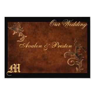 "Monogram Elegant Scroll Leaf Wedding Invitation 5"" X 7"" Invitation Card"