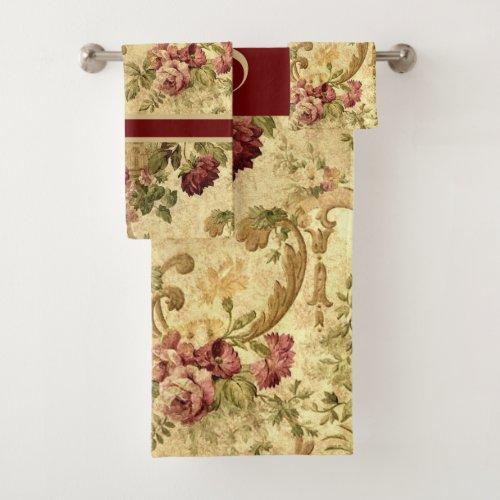 Monogram Elegant Vintage Floral Burgundy Rose   Bath Towel Set