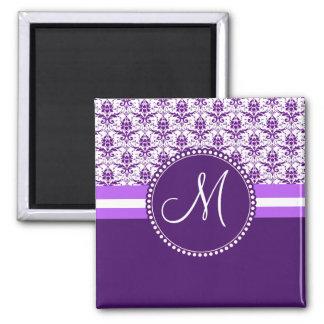 Monogram Elegant Vintage Purple and White Damask 2 Inch Square Magnet