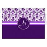 Monogram Elegant Vintage Purple and White Damask Card