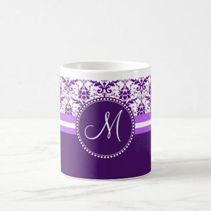 Monogram Elegant Vintage Purple and White Damask Coffee Mugs