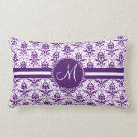 Monogram Elegant Vintage Purple and White Damask Throw Pillow