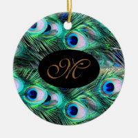 Monogram Elegant Xmas Holiday Peacock Wedding Ceramic Ornament