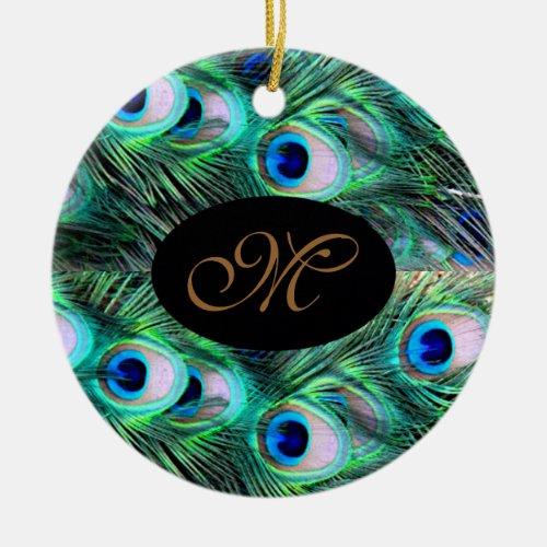 Monogram Elegant Xmas Holiday Peacock Wedding Ceramic Ornament