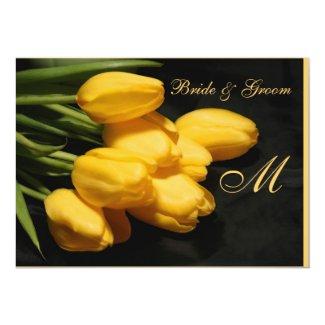 "Monogram Elegant Yellow Tulip Wedding Invitation 5"" X 7"" Invitation Card"