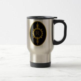 Monogram Emblem Gold Black Travel Mug