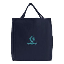 Monogram Embroidered Navy Blue Tote