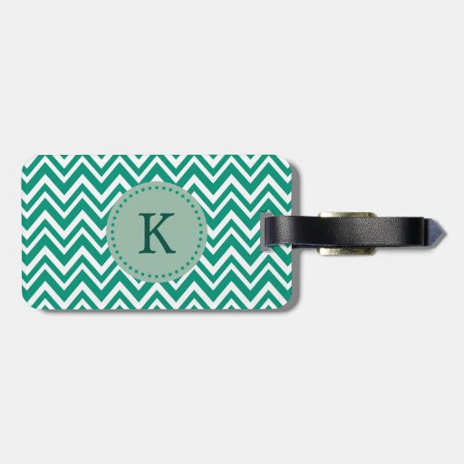 Monogram Emerald Green and White Zigzag Pattern Tag For Bags