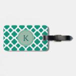 Monogram Emerald Green &  White Quatrefoil Pattern Luggage Tag