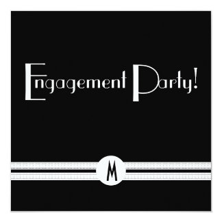 Monogram Engagement in Black and White Art Deco Card