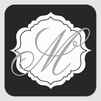 Monogram Envelope Seal Favor Stickers Black, White