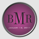 Monogram Envelope Seal :: Mauve Sticker